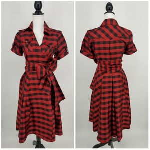 Diane Von Furstenberg Silk Plaid Wrap Dress